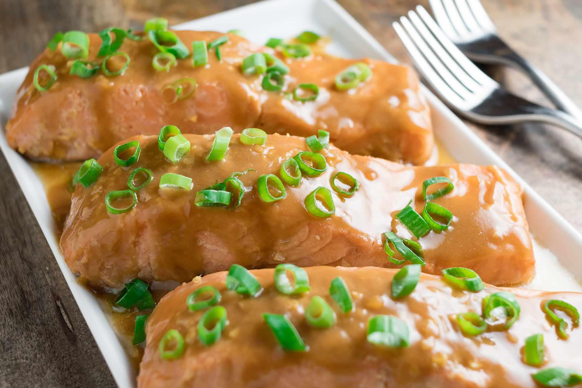 Teriyaki Salmon cooked sous vide on a platter