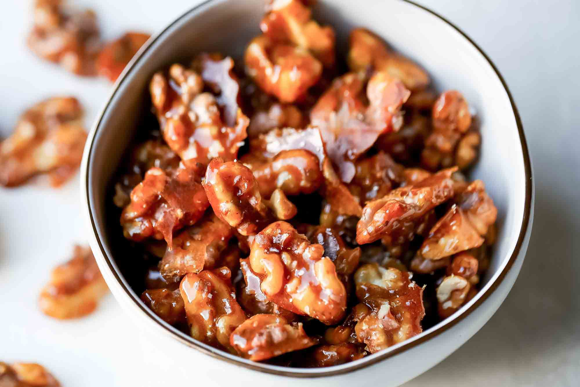 Candied walnuts in a bowl