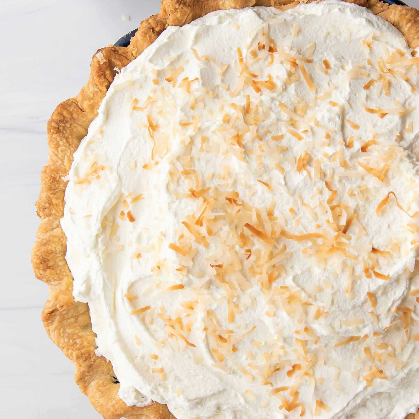 Overhead view of easy coconut cream pie.