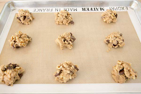 chocolate chunk cookies on baking sheet