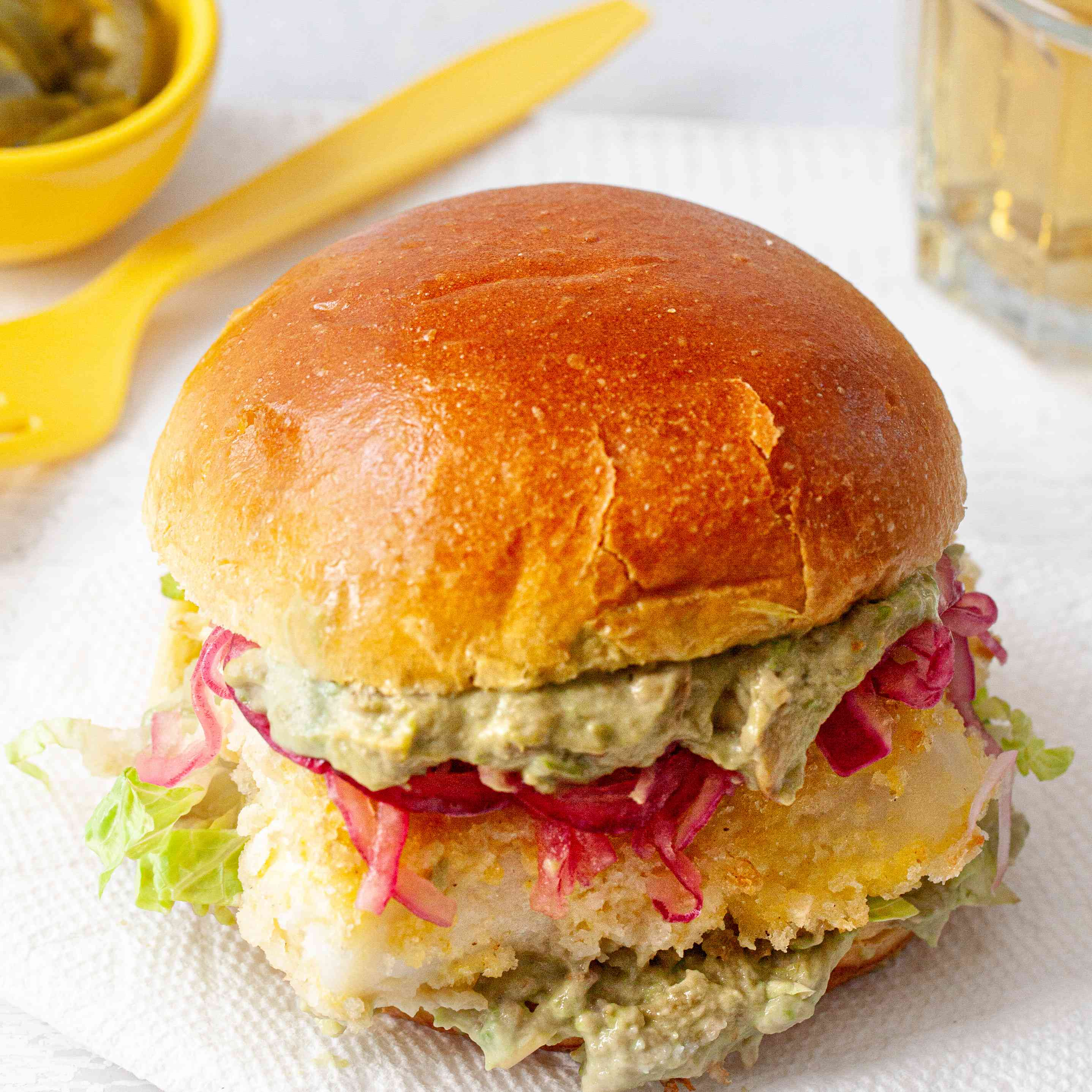 Crispy Oven Baked Fish Sandwiches with Mayo and Tangy Pickled Onions
