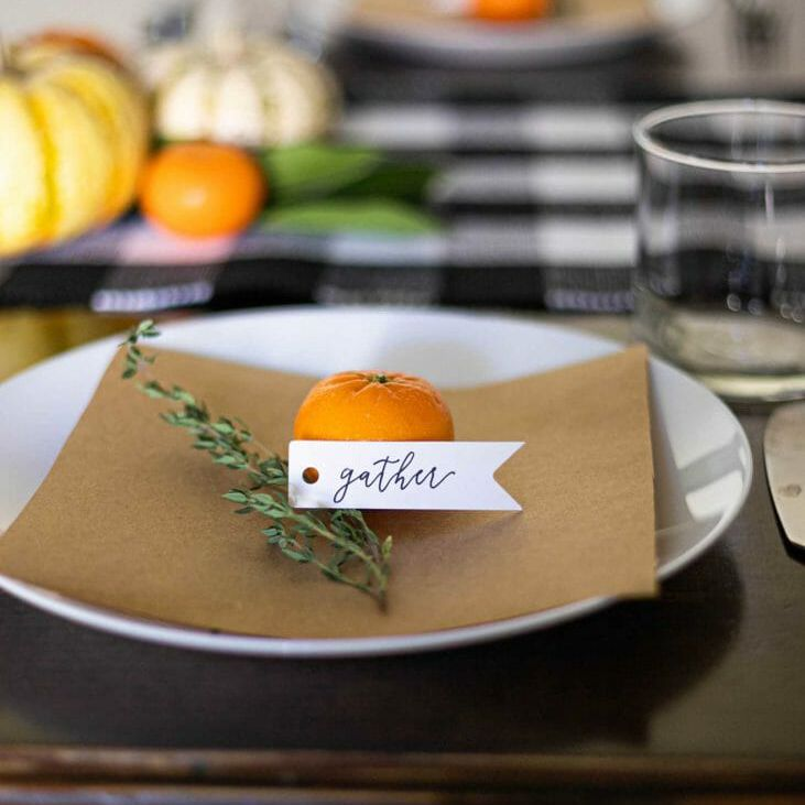 rosemary and clementine place cards for thanksgiving