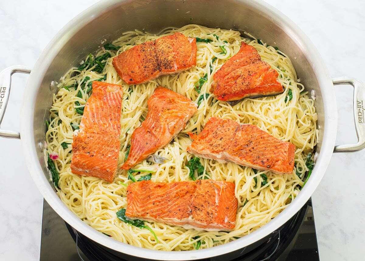 Angel Hair Pasta with Salmon Recipe add the salmon
