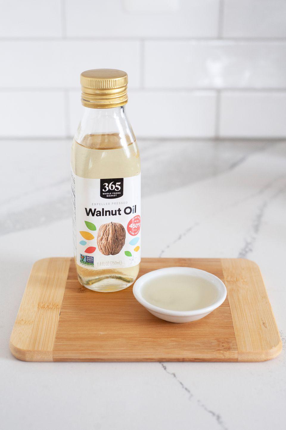 Walnut oil on wood cutting board