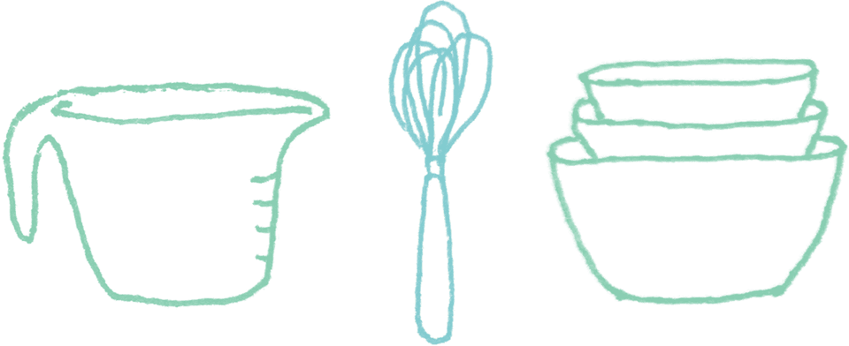 illustration of measuring cups and bowls