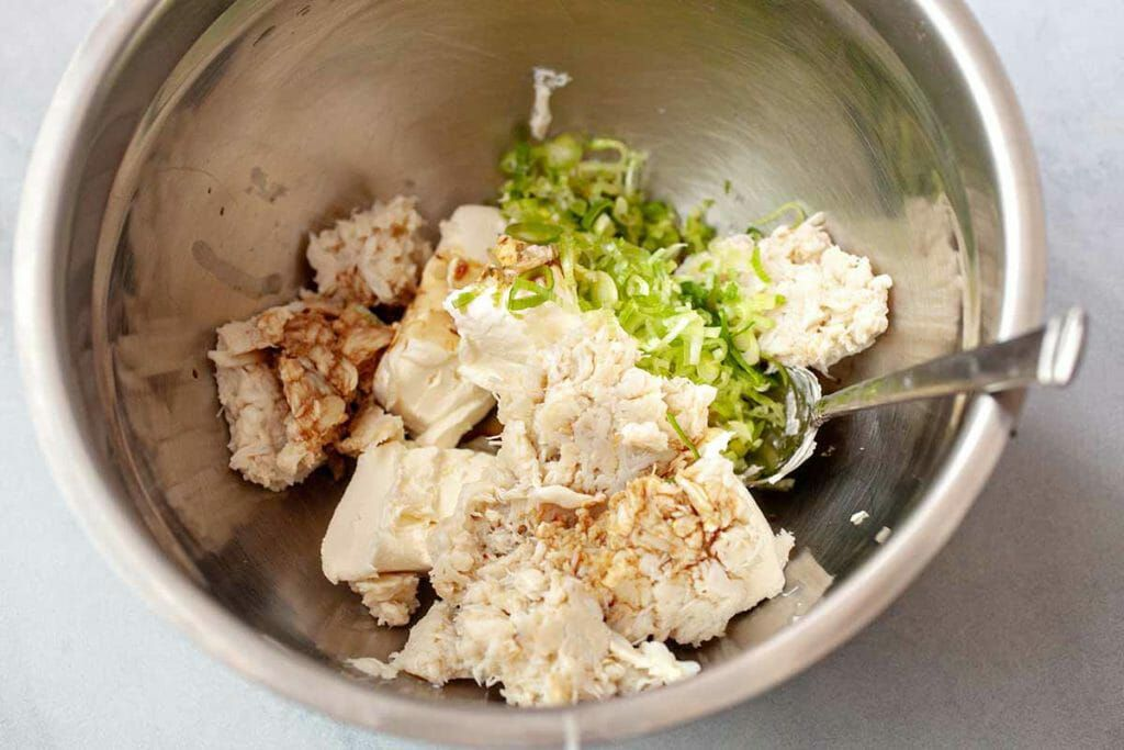 The filling for air fryer cream cheese wontons recipe