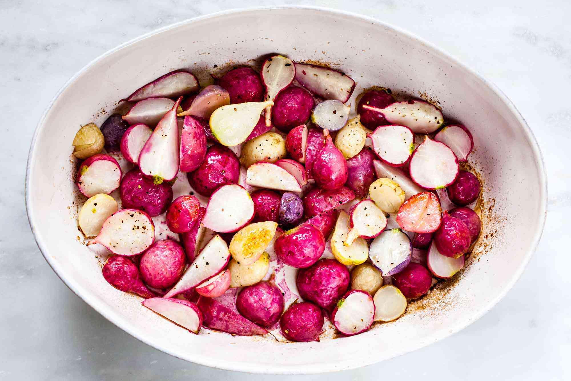 Salad with Roasted Radishes roast the radishes