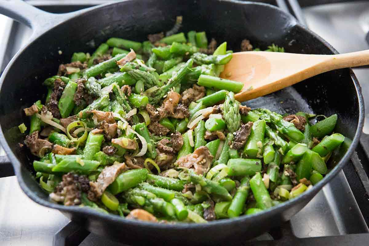 saute morels with asparagus and green garlic