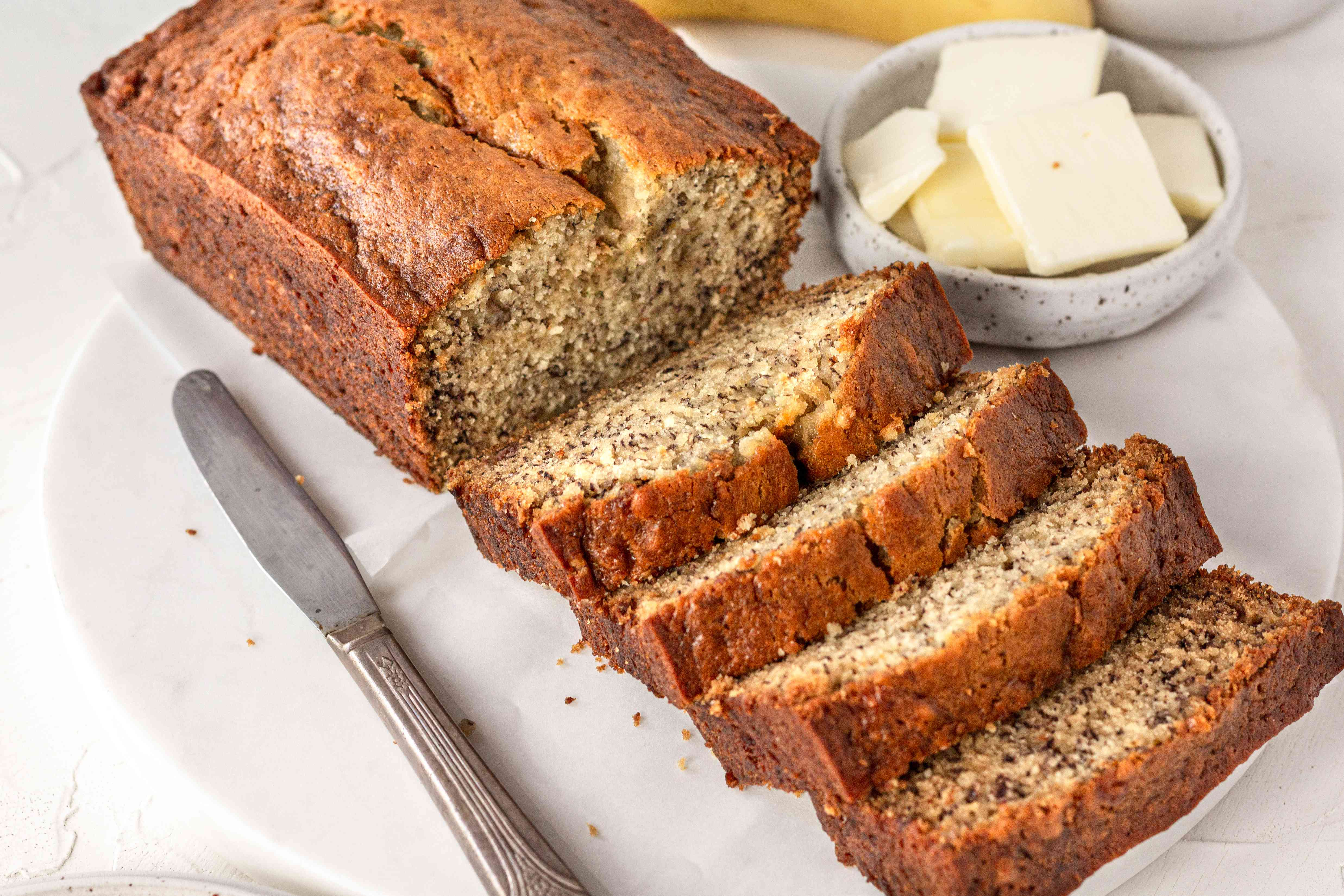 Easy banana bread cut into thick slices.