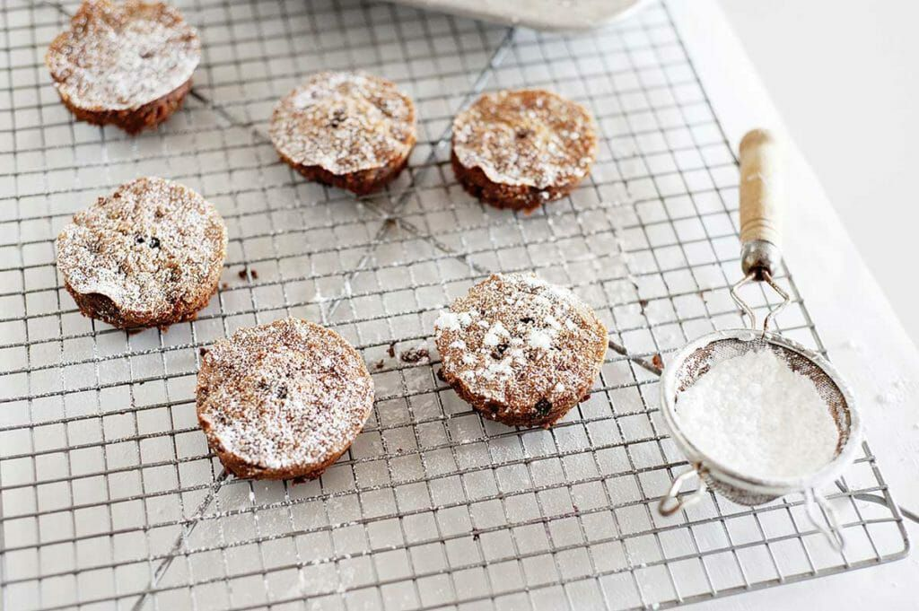 Grain-Free Chocolate Olive Oil Cakes with powdered sugar