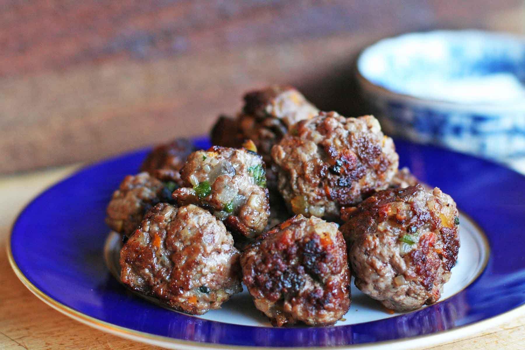 Greek Meatballs on serving plate