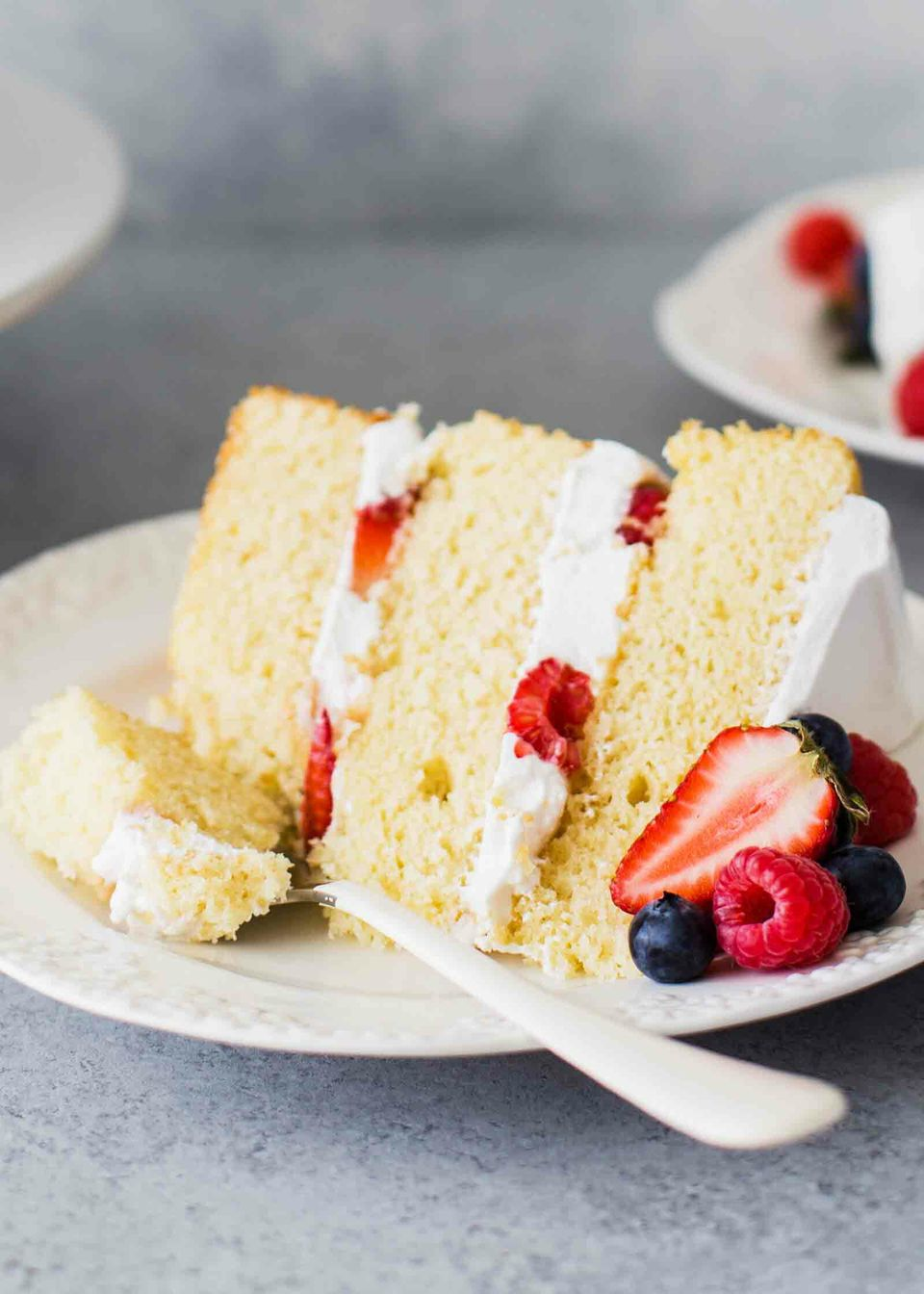 Vanilla Buttermilk Layer Cake on plate
