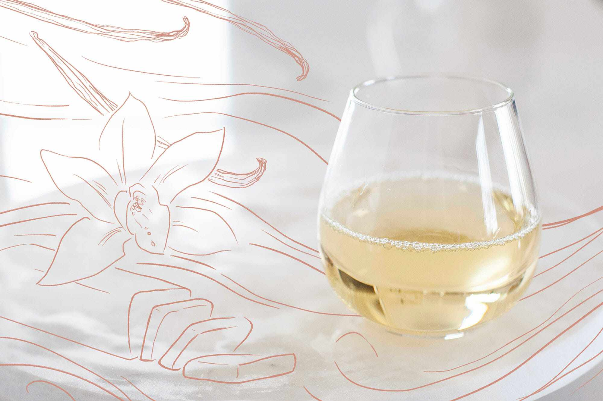 A glass of white wine a flower and stick of butter drawn to the left.
