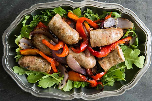 Grilled Italian Sausage with Peppers, Onions, and Arugula