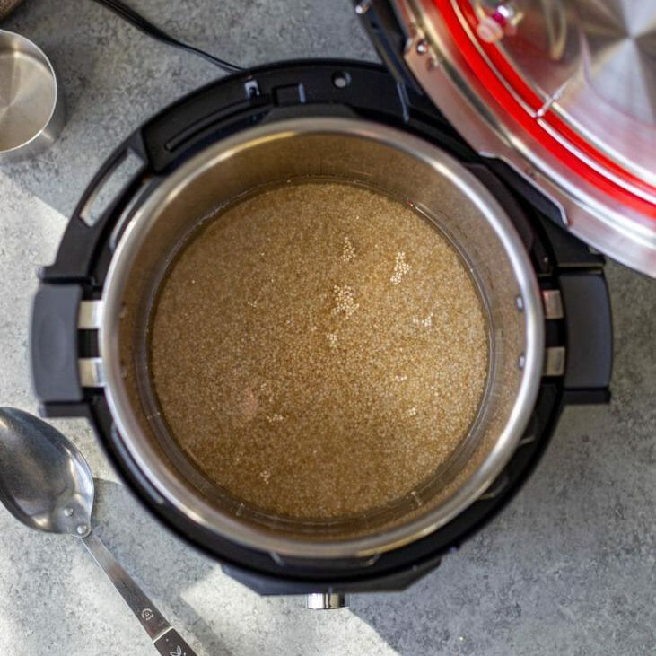 Covering quinoa with water in the instant pot