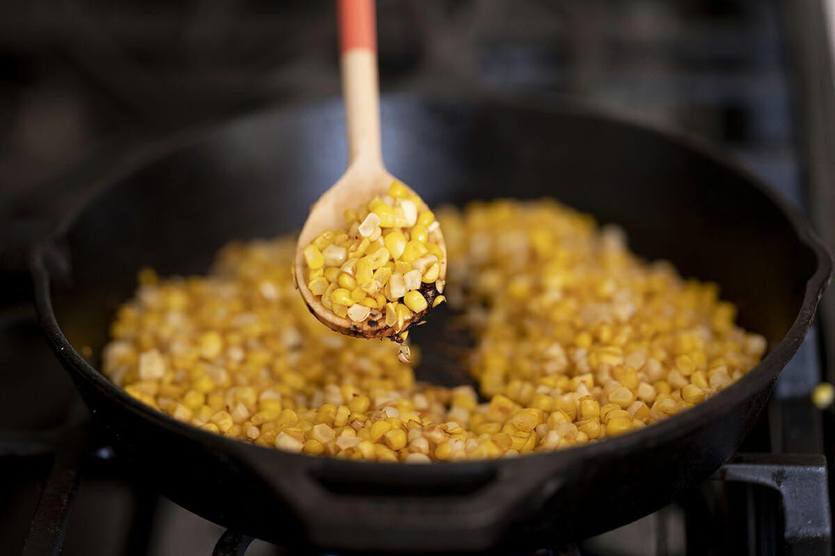 Sweet Corn quesadilla recipe cook the corn