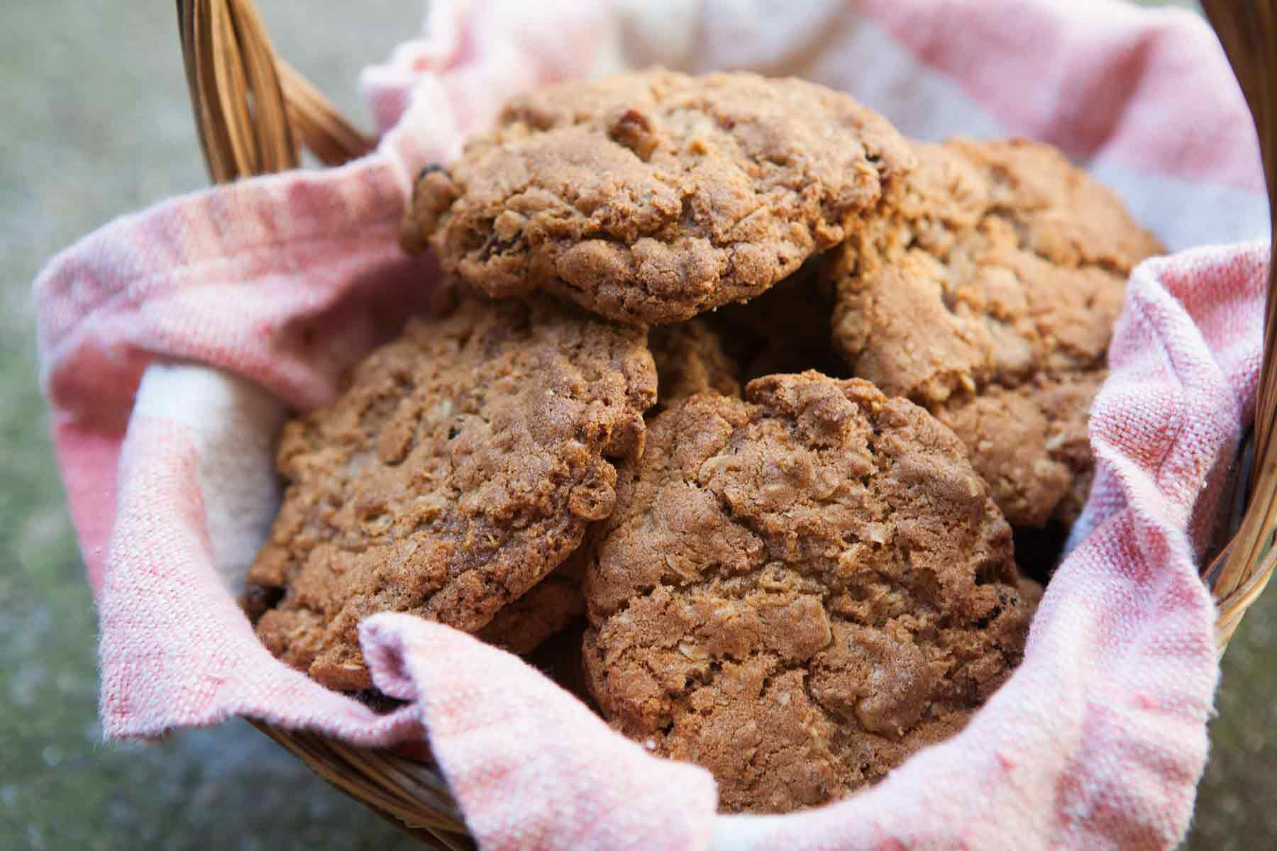 Old Fashioned Oatmeal Cookies in Basket