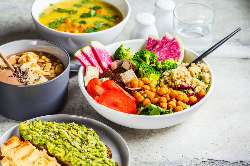 Chocolate smoothie bowl, Buddha bowl with tofu, chickpeas and quinoa, lentil soup and toasts on a gray background