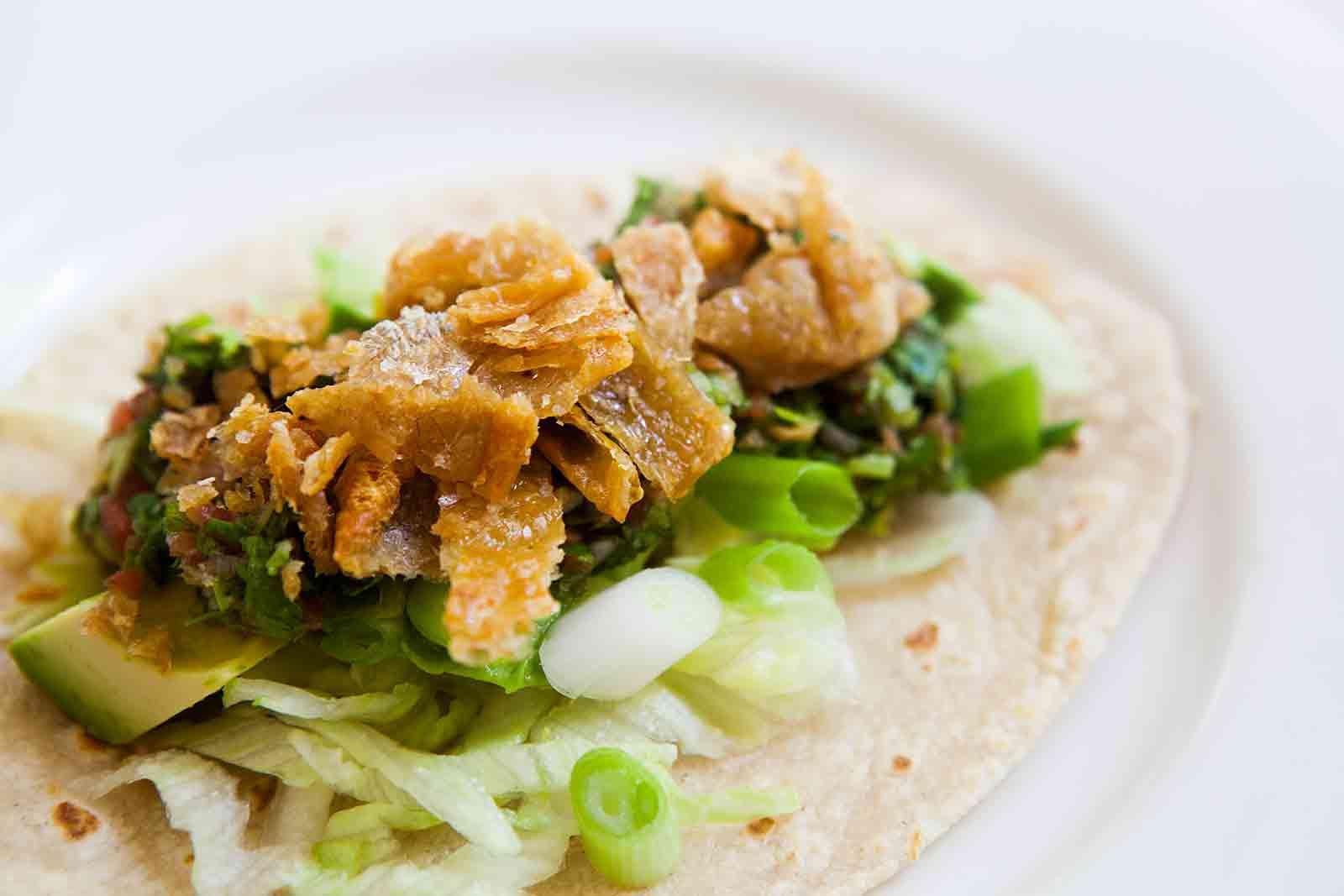 Chicken Skin Tacos with Habanero Salsa