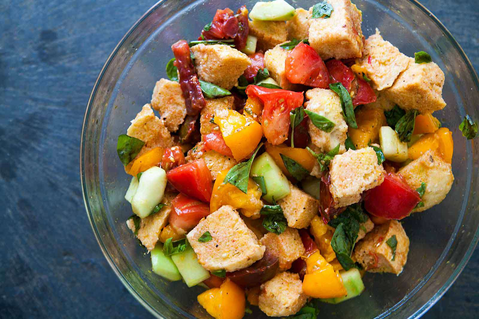 Panzanella Bread Salad in a glass serving bowl
