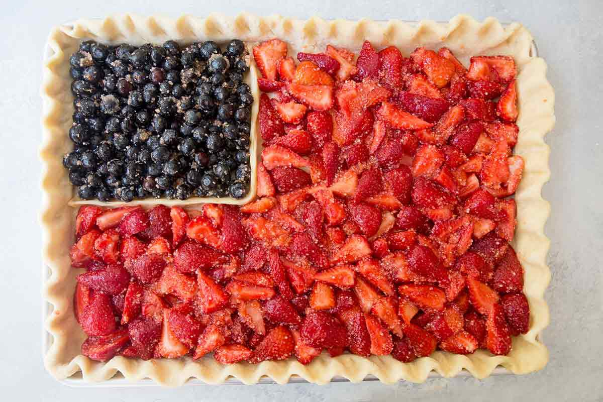 add blueberry and strawberry filling to american flag pie crust
