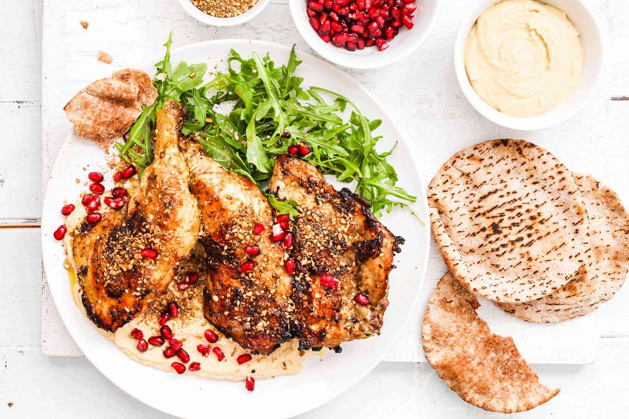 Grilled Chicken with Dukkah Egyptian serve the chicken with hummus and pita