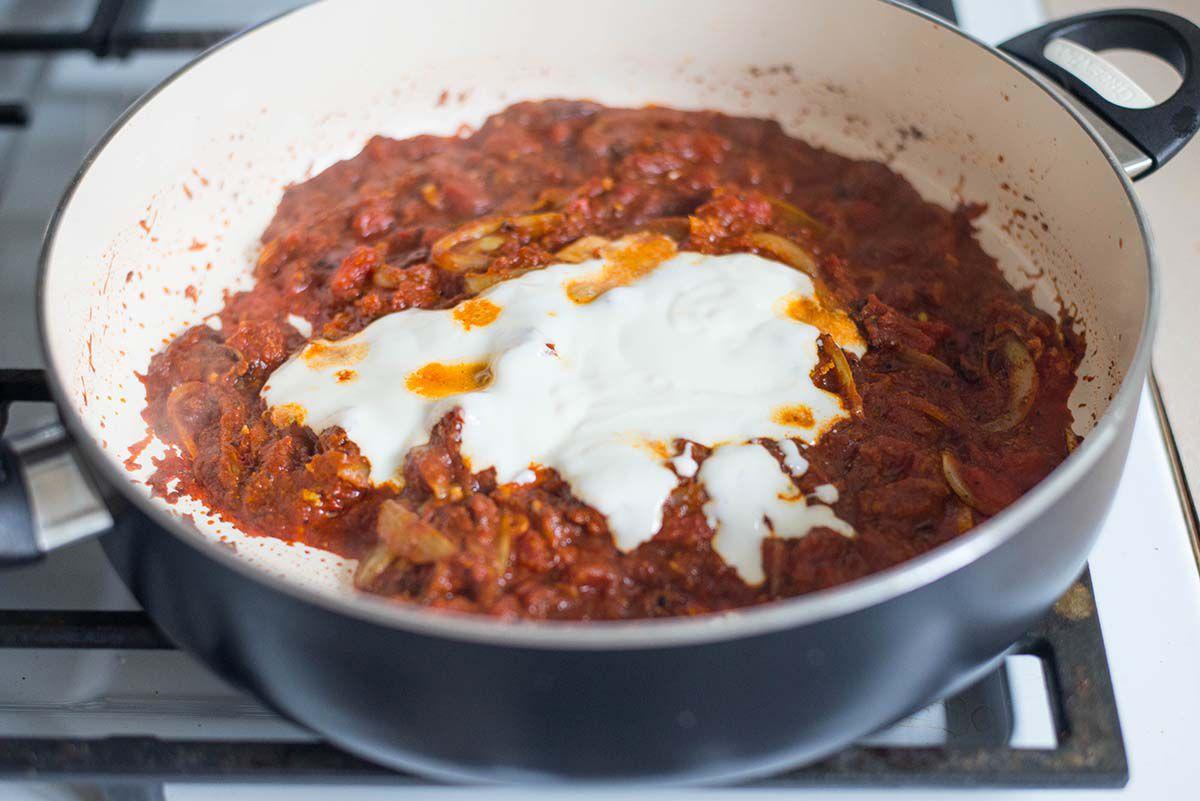 Indian Chicken Tikka Masala Recipe Add yogurt to tikka masala sauce