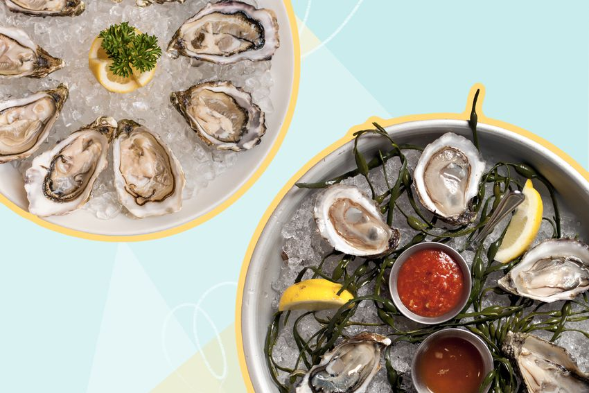 Photo composite of two plates of oysters on ice for serving