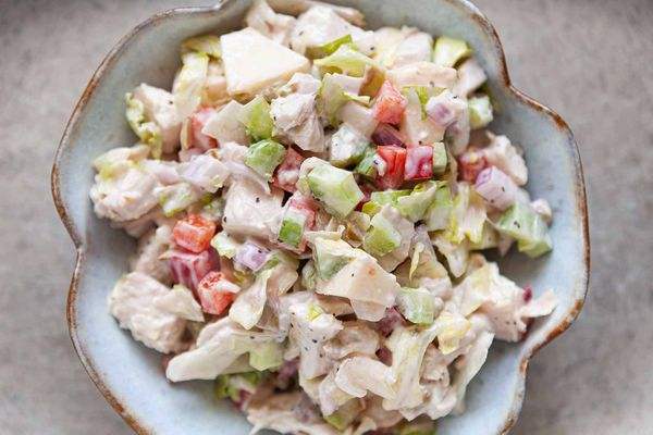 Chicken Salad with celery and bell pepper in a serving bowl