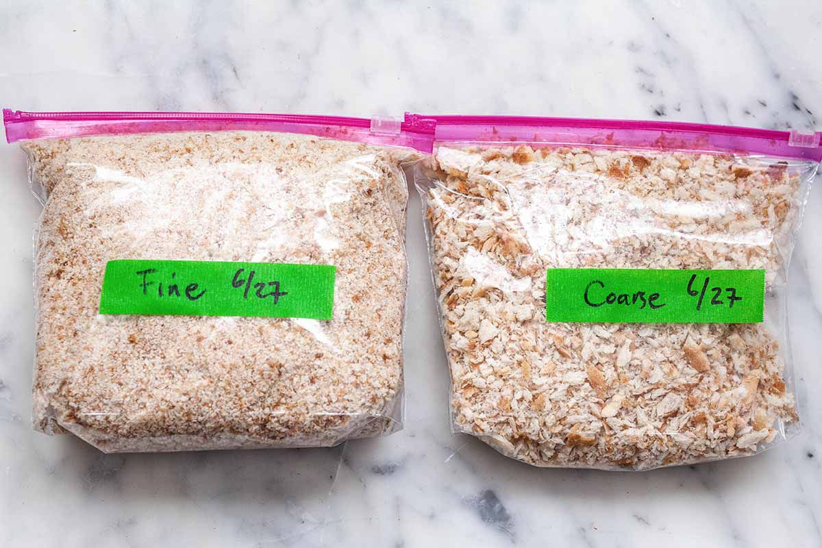 Bread Crumb Recipe - breadcrumbs in ziploc bags labled with green tape