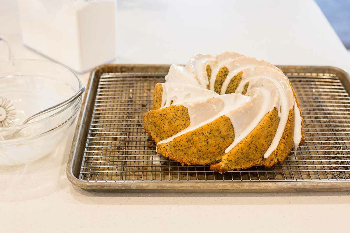 Homemade Lemon Poppy Seed Cake drizzle with icing