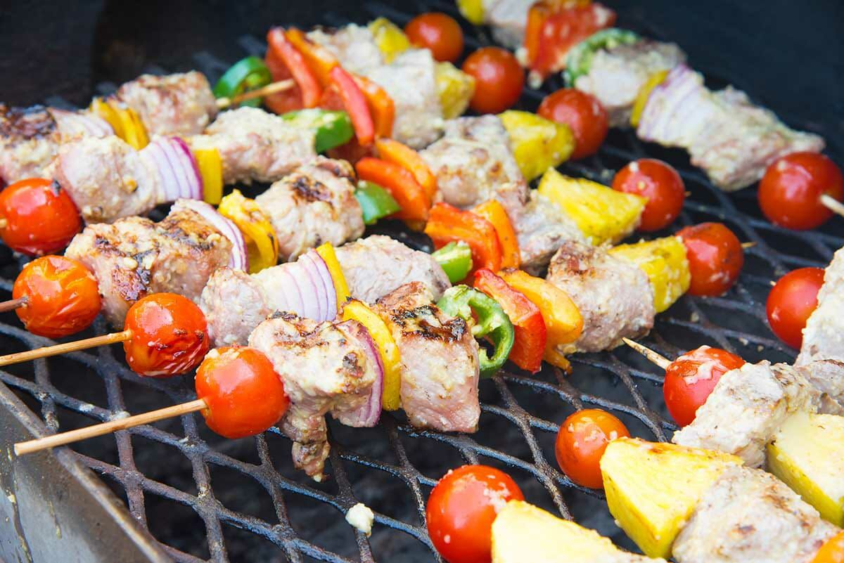 Easy grilled pork kebabs with mojo marinade on the grill.