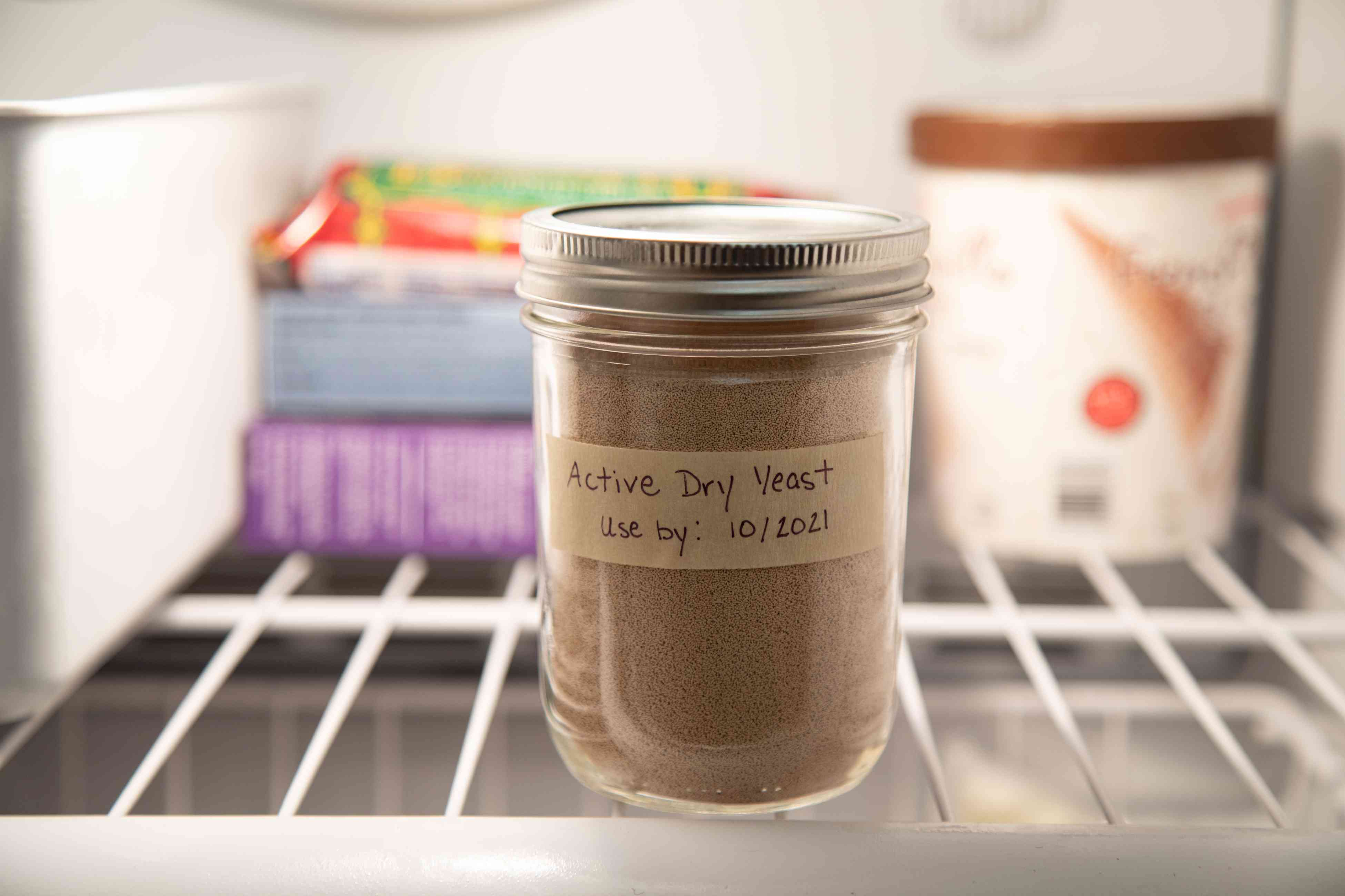 Can you store yeast in the freezer? A jar of yeast inside a freezer.