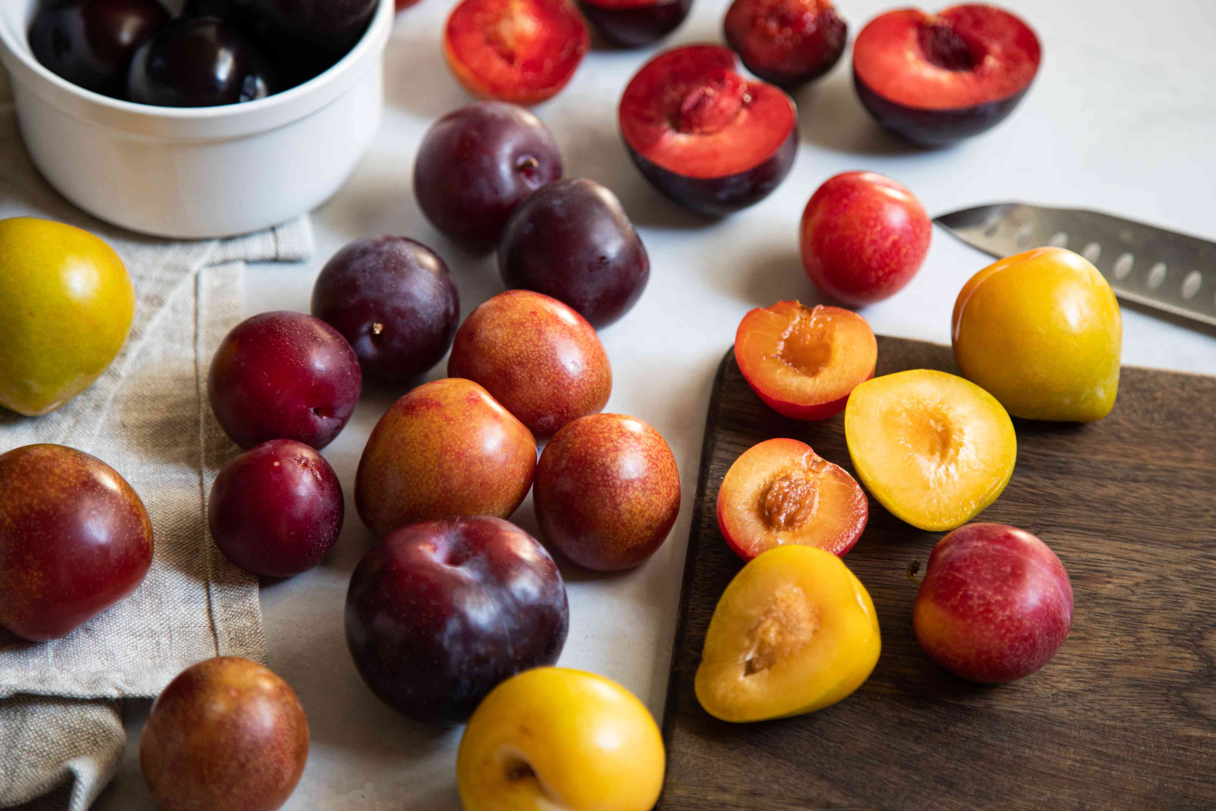 Collection of colorful plums