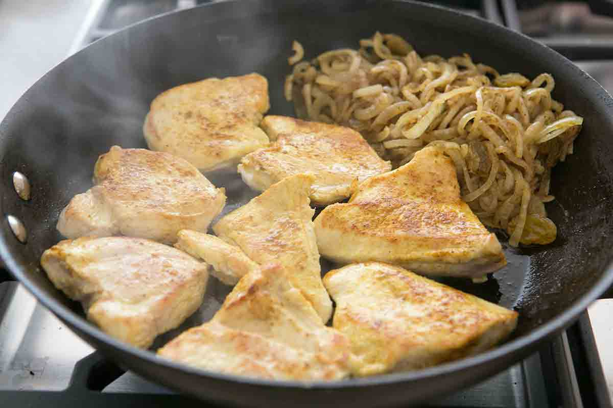 saute chicken cutlets for chicken curry in a hurry