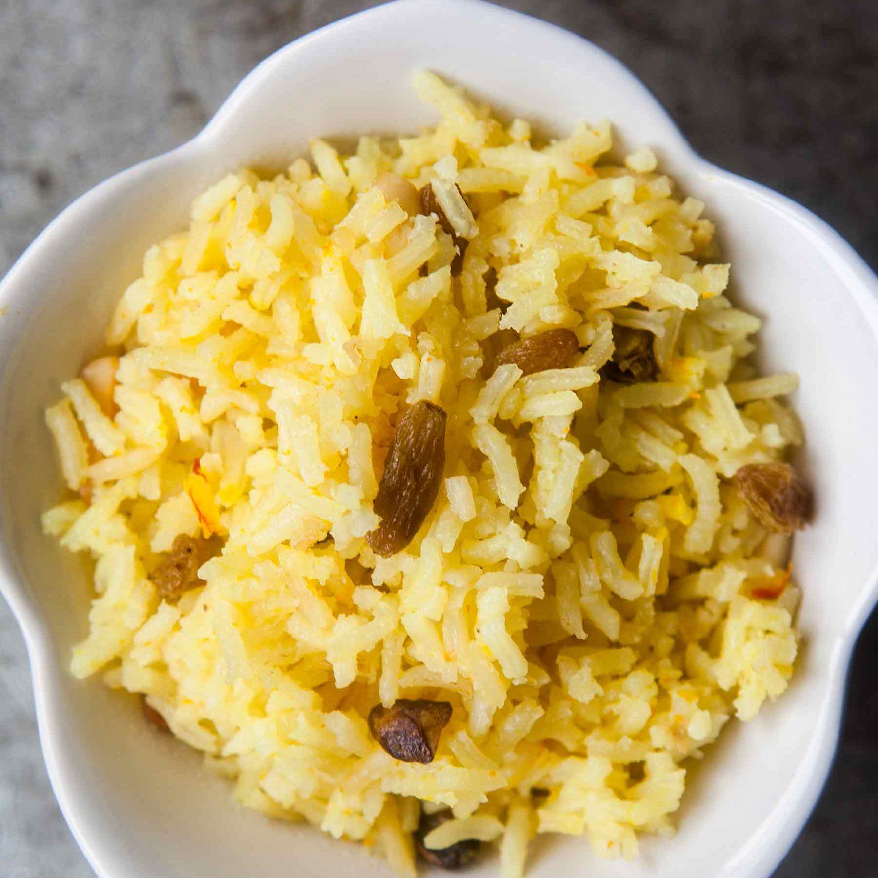 Saffron Rice Pilaf Recipe Parsi Pulao