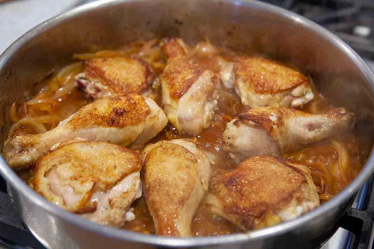 add chicken to onions for chicken paprikash