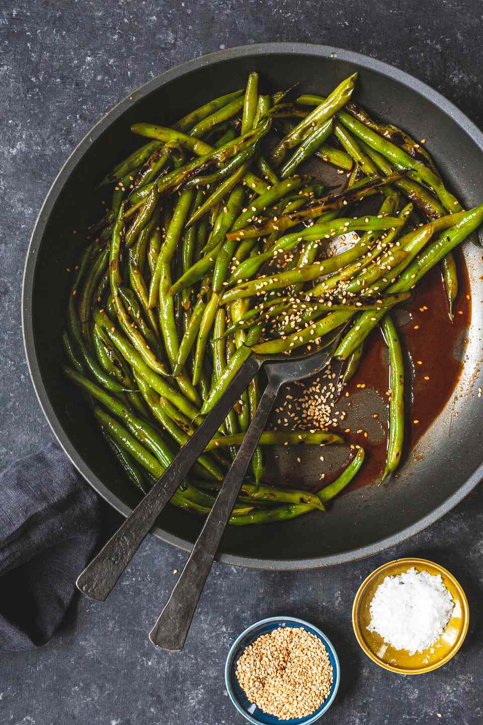 Green Beans with Gochujang cooked in a skillet.