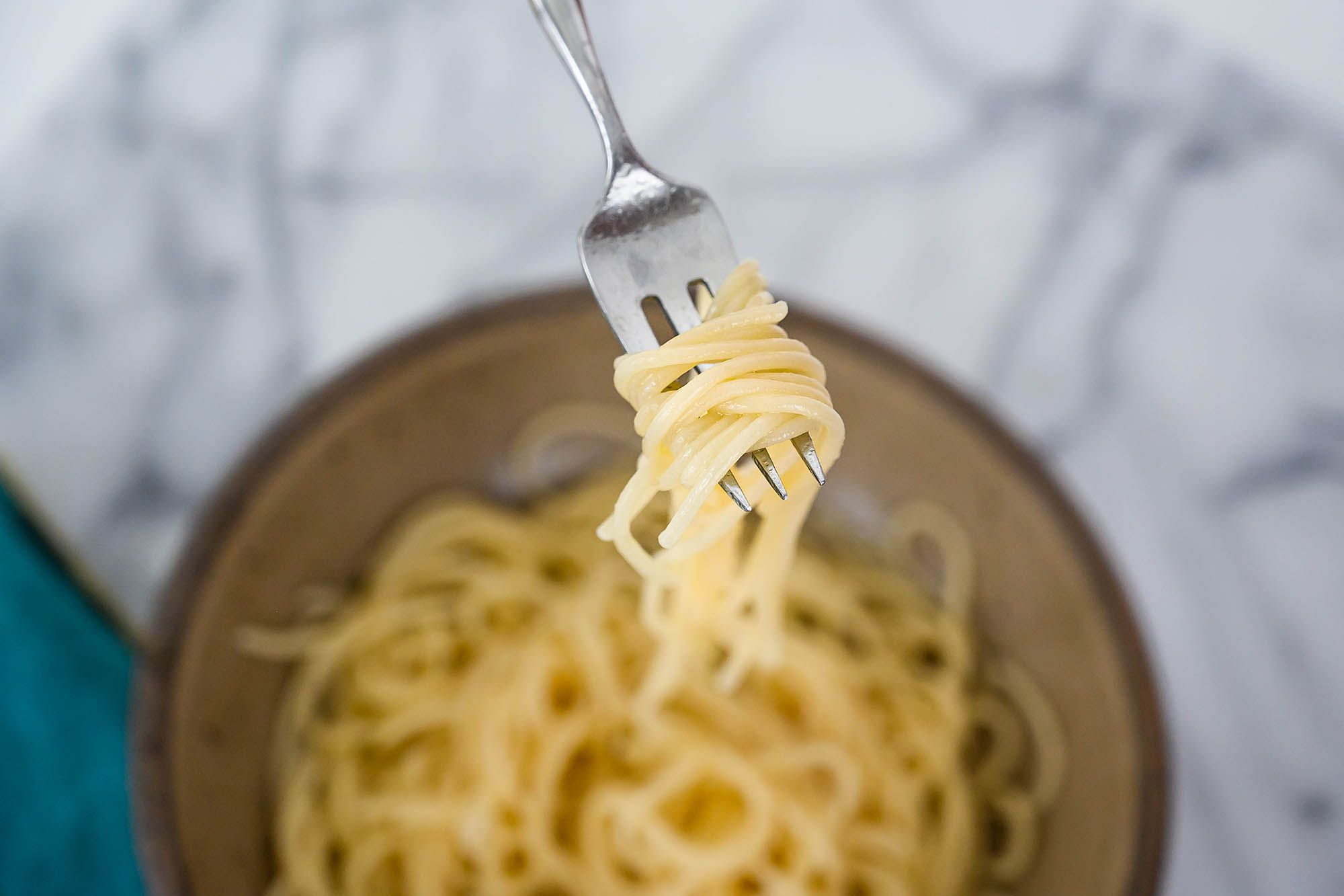 Gluten free spaghetti on a fork