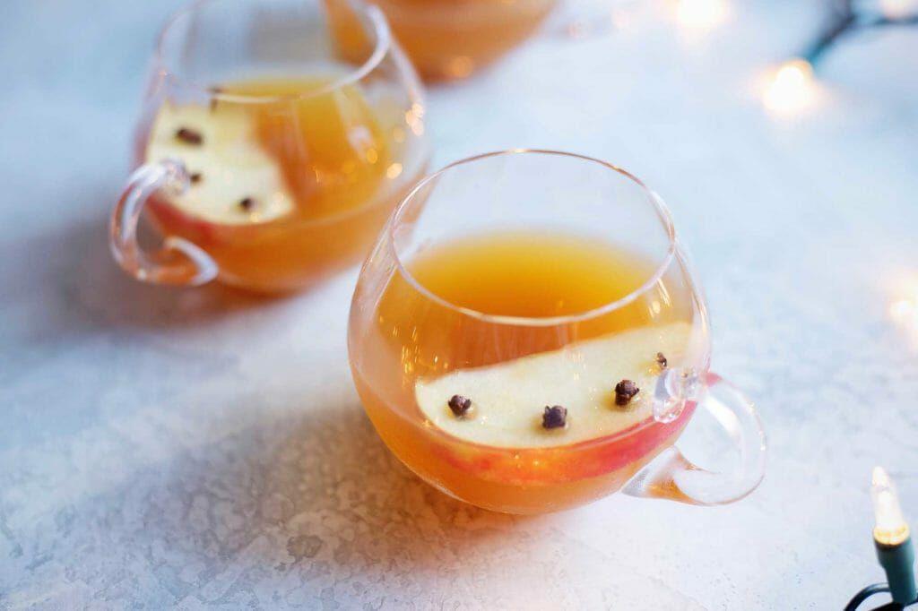 Glass mug with Spiced Brandy and Chai Tea Holiday Punch