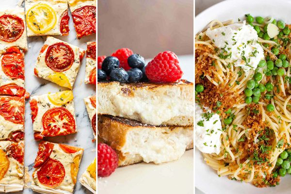 Three photos next to each other. From left to right: tomato ricotta tart cut into squares. In the middle is a photo of berry topped Honey Ricotta Stuffed French Toast. The image on the left is Lemony Spaghetti with Peas and Ricotta.