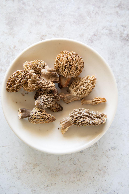 Morel mushrooms on a white plate