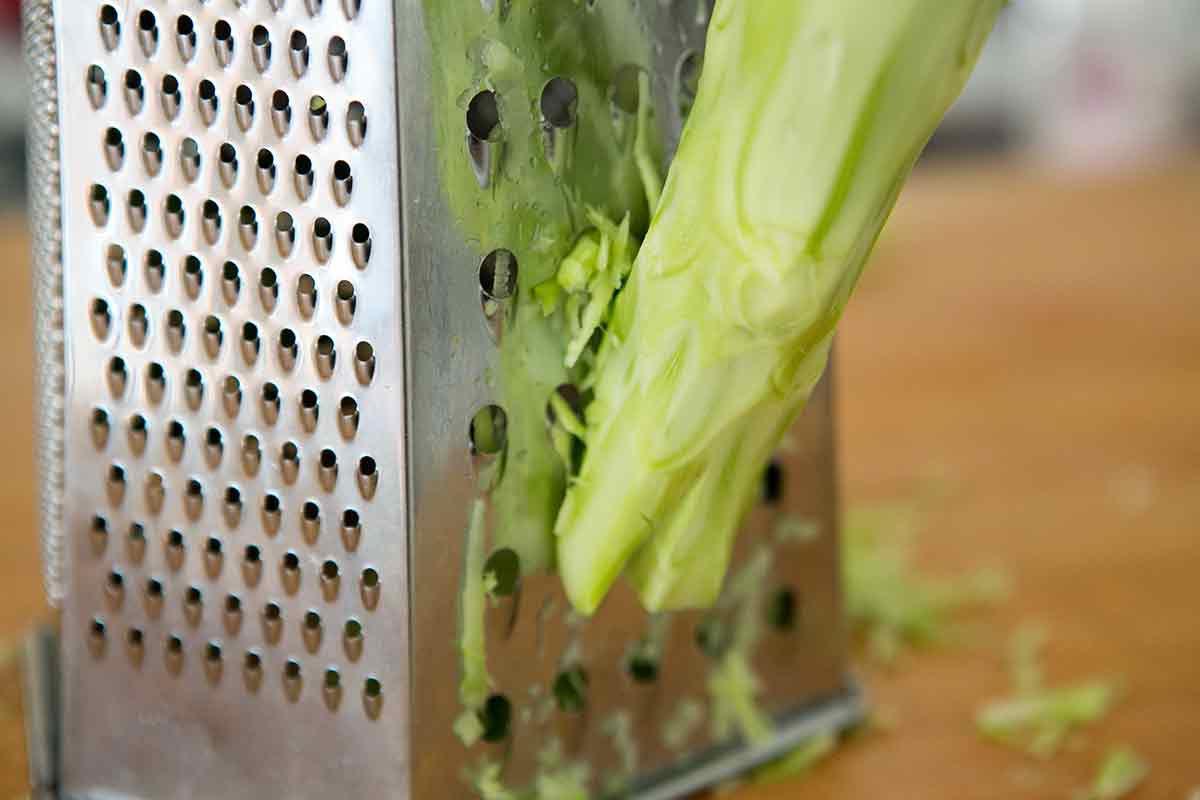 Shredding broccoli stems for easy broccoli slaw