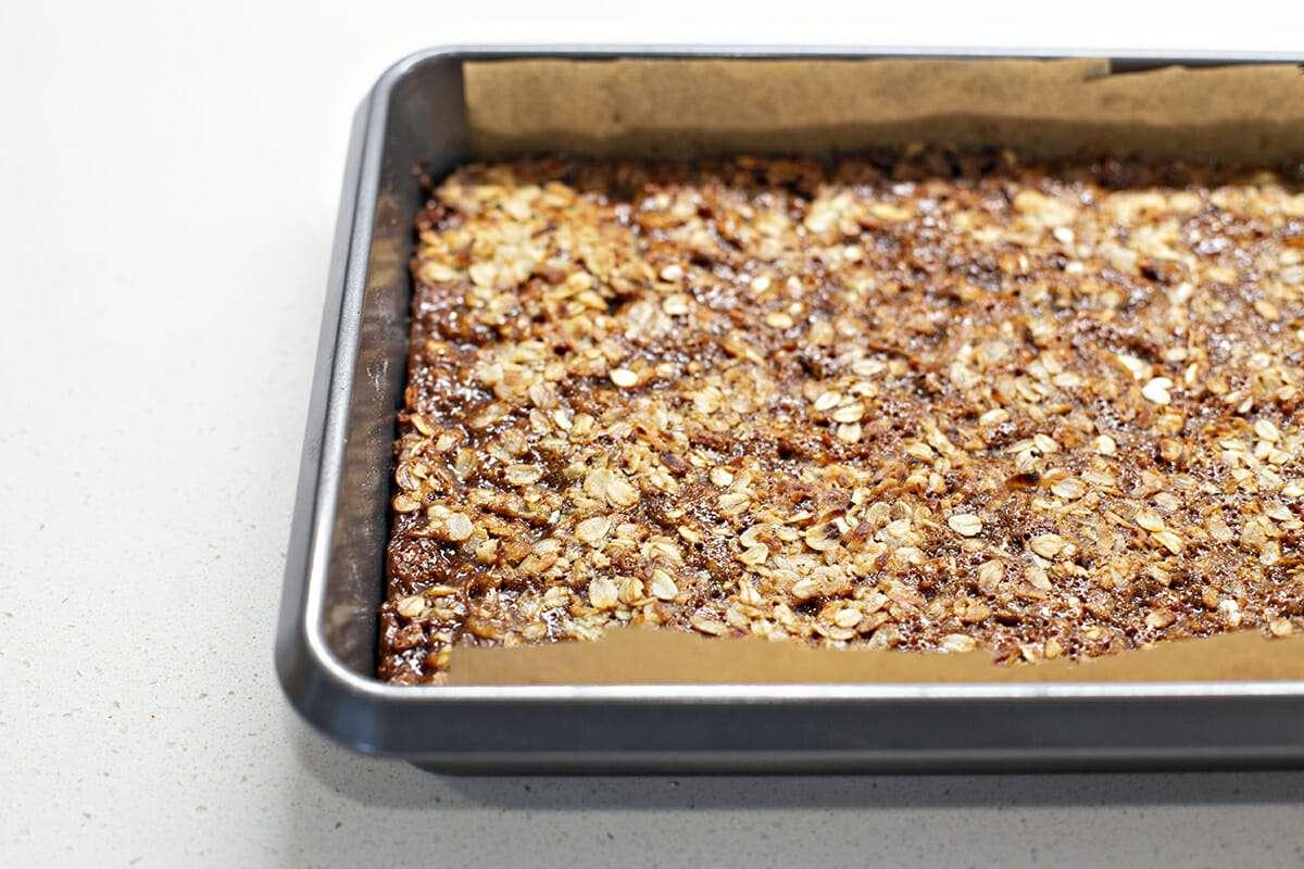 Oatmeal Carmelita Bar Recipe - bar cookies in baking pan