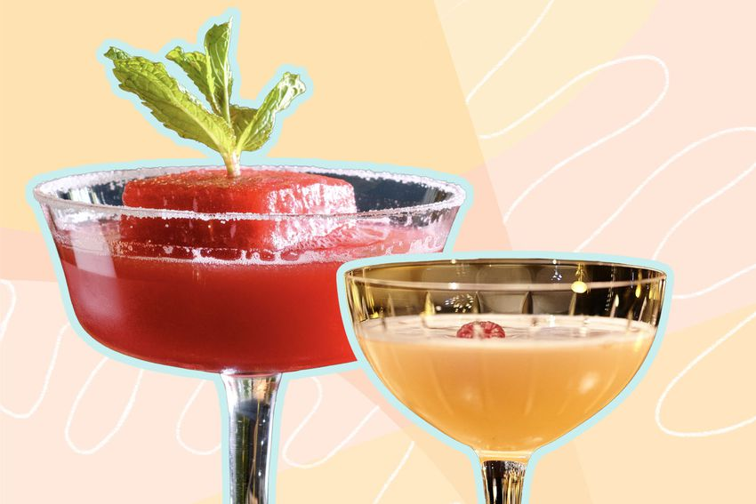 Photo composite of two colorful cocktails