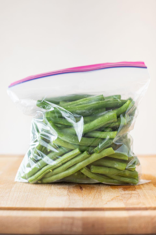 Plastic bag of trimmed green beans