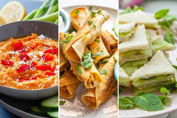 Three images side by side. The photo on the left is a bowl of red pepper hummus. The middle picture is a plate of chicken taquitos stacked on a plate. The image on the right is a platter of cucumber sandwiches cut into triangles and stacked on a plate.
