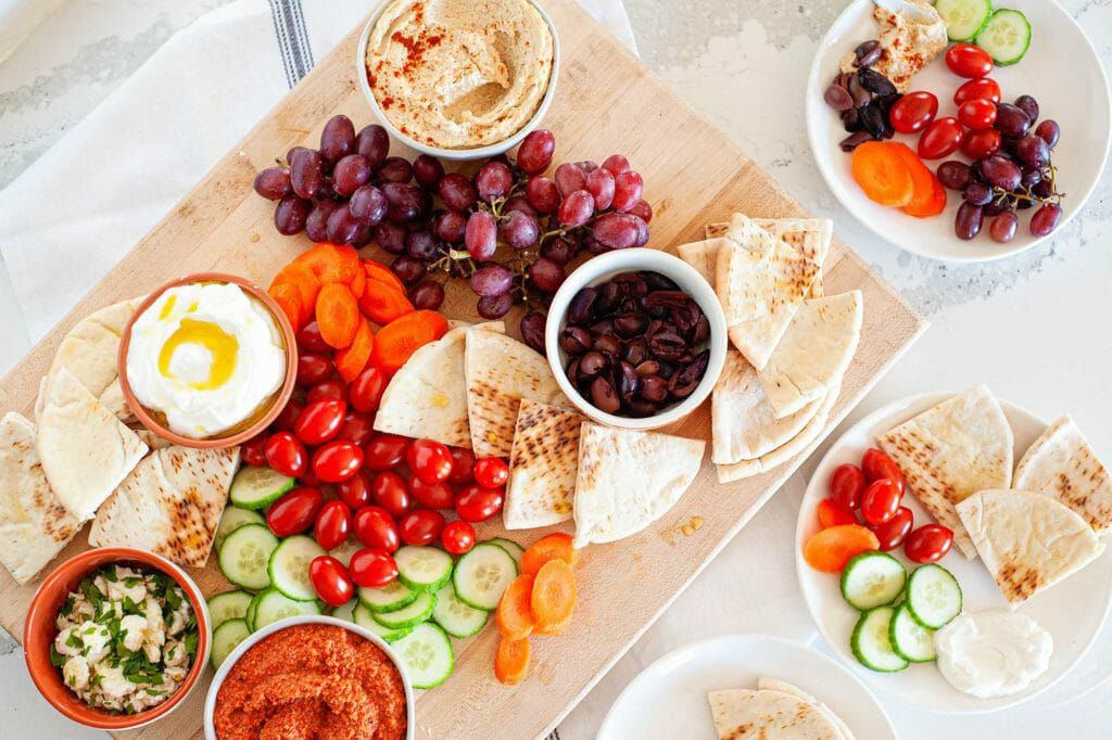 Small plates mezze platter with mediterranean foods