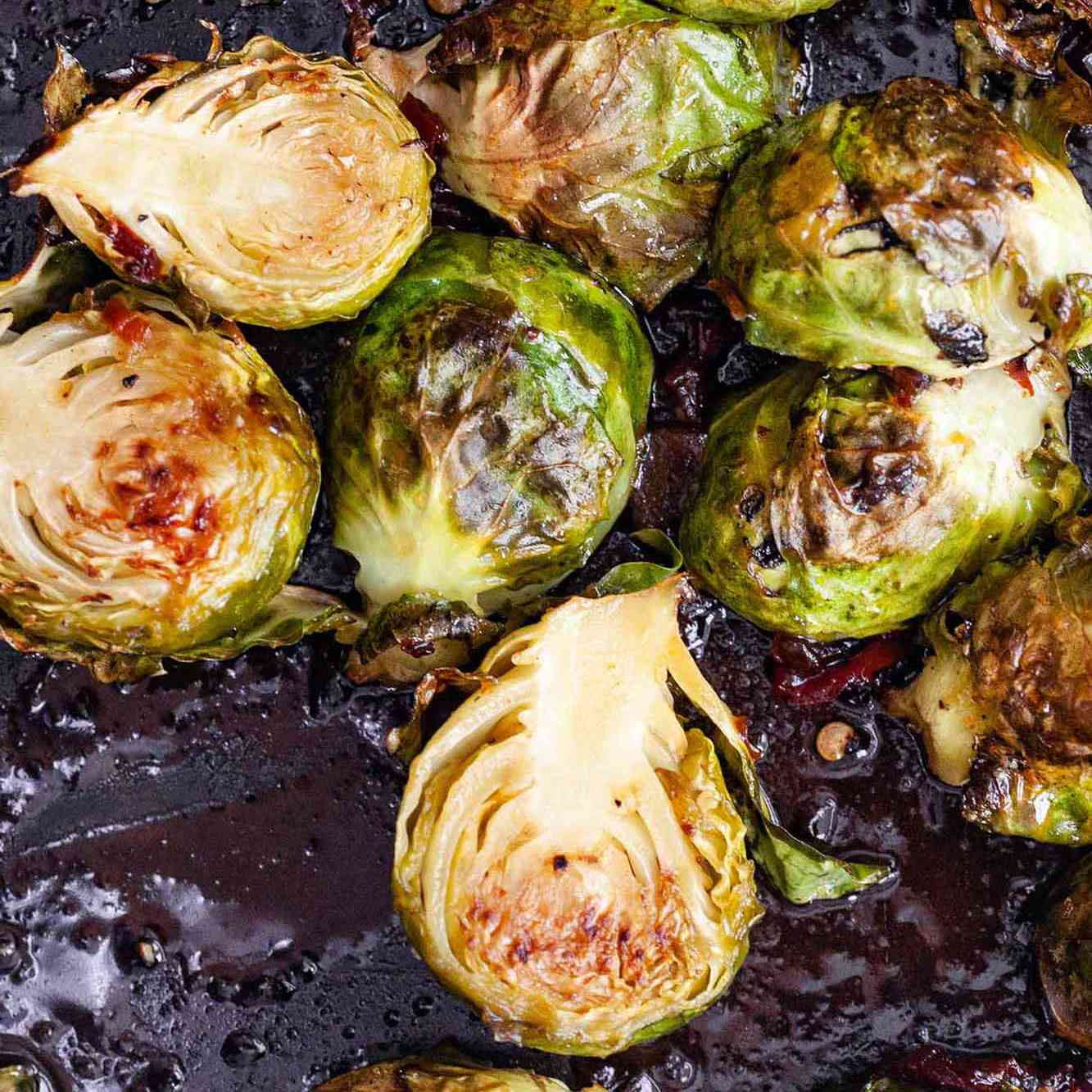 Honey Chipotle Brussels Sprouts on pan