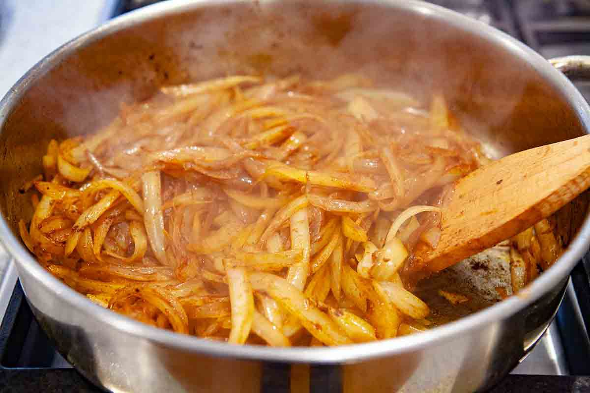 add paprika to onions for chicken paprikash